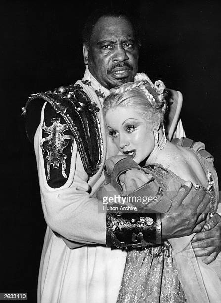 African American singer, actor Paul Robeson in the role of Othello at Stratford -upon-Avon, with Mary Ure as Desdemona.