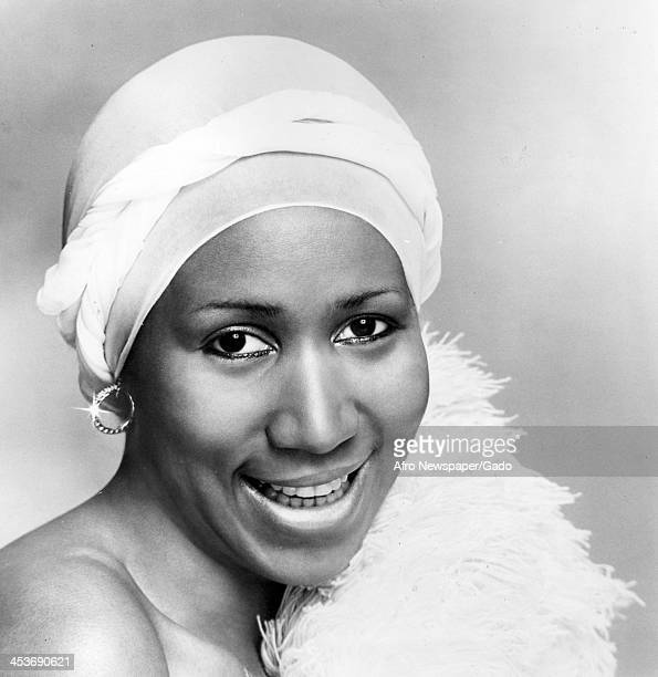African American singer Aretha Franklin smiles for her headshot January 4 1978
