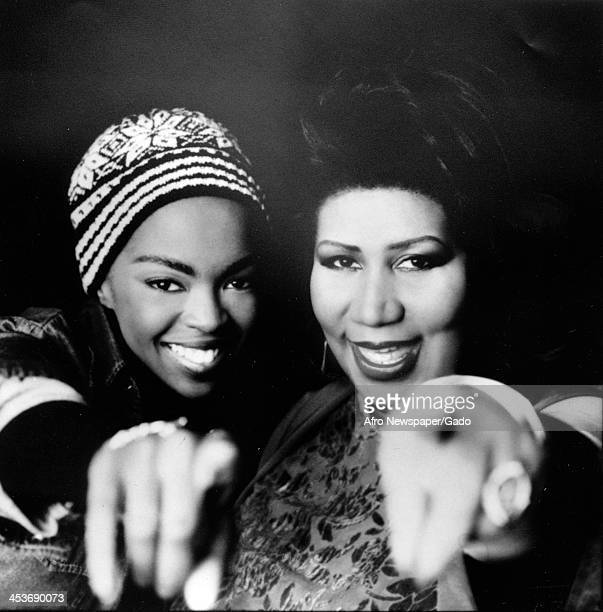 African American singers Lauryn Hill and Aretha Franklin, January 21, 1998.