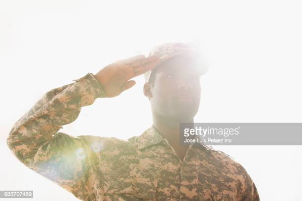 african american soldier saluting - saluting stock pictures, royalty-free photos & images