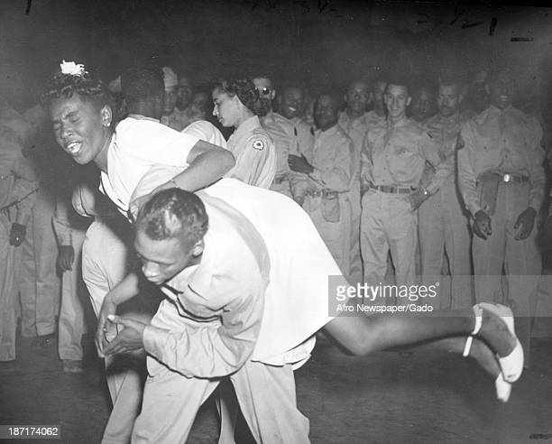 African American soldiers at a dance, 1942.