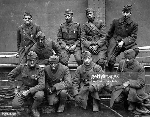 African American soldiers in World war One travel to France in 1919 to receive the French Croix de Guerre medal