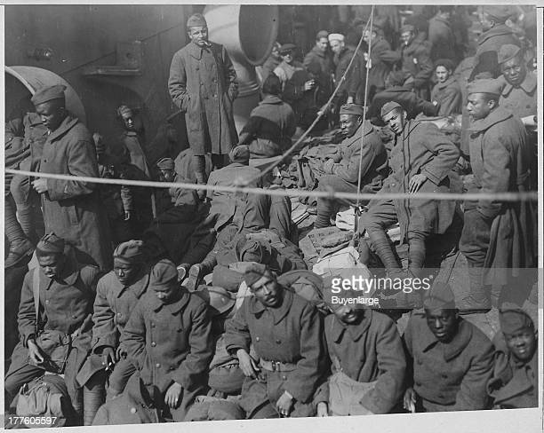 African American soldiers pictured as they return on the ship George Washington in Cleveland Ohio 1919