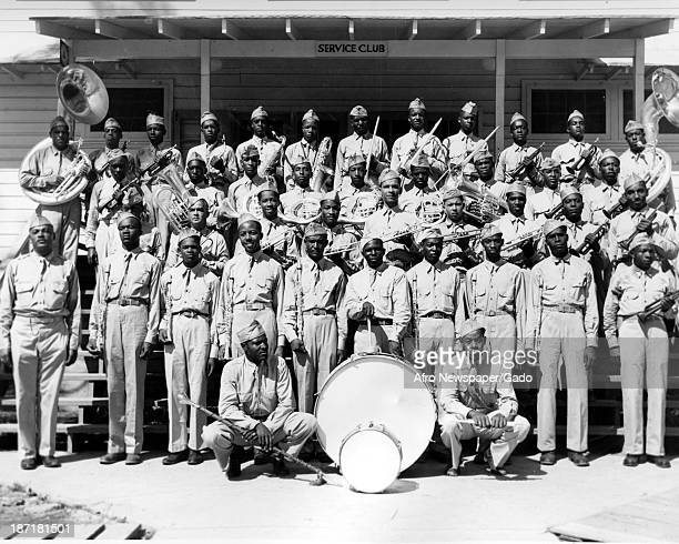 African American soldiers prepare for a parade Camp Livingston Pineville Louisiana 1942