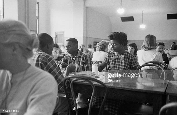 African American students Jefferson Thomas and Elizabeth Eckford during lunch period at Central High School in Little Rock Arkansas