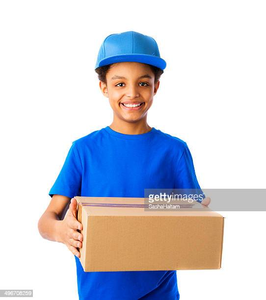 African American teenager working as courier