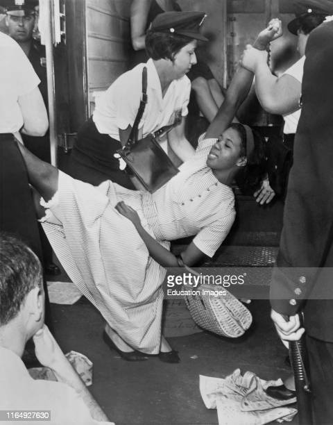 African American Woman Being Carried to Police Patrol Wagon During Demonstration Brooklyn New York USA Dick DeMarsico World Telegram Sun 1963