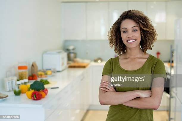 African American woman cooking at home