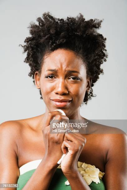 African American woman crying