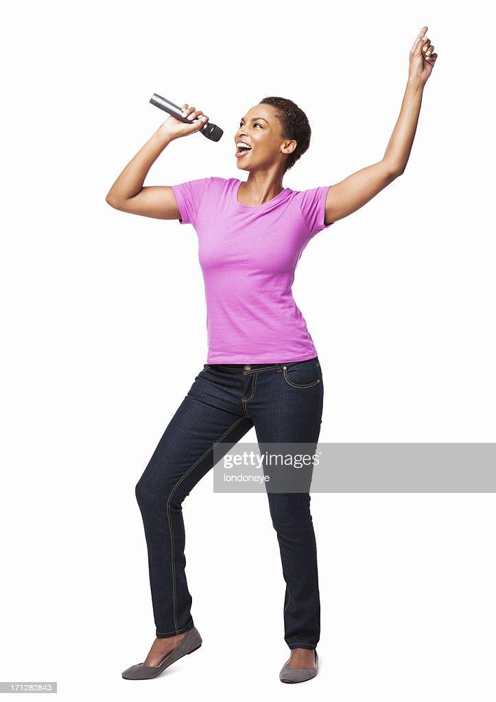 Afro-americana mulher dançando e cantando-isolado : Foto de stock