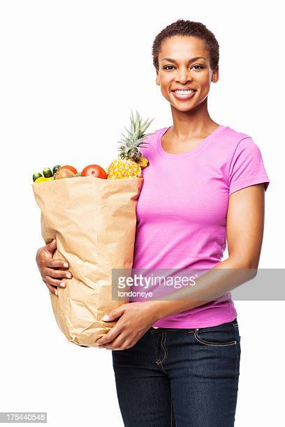 African American Woman Holding a Bag of Healthy Groceries-Isolated