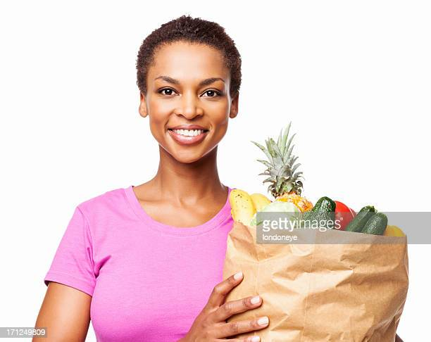 African American Woman Holding Bag Of Groceries - Isolated