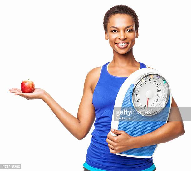 African American Woman Holding Weight Scale And Apple - Isolated