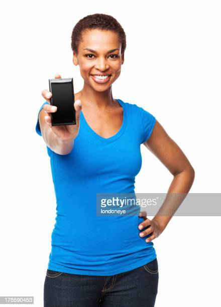 African American Woman Showing Her Cell Phone - Isolated