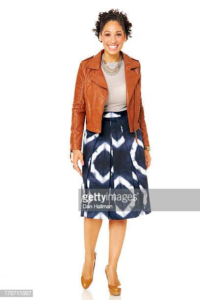 african american woman smiling on white background - black skirt stock pictures, royalty-free photos & images