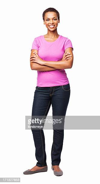 african american woman smiling with arms crossed - isolated - black pants stock pictures, royalty-free photos & images