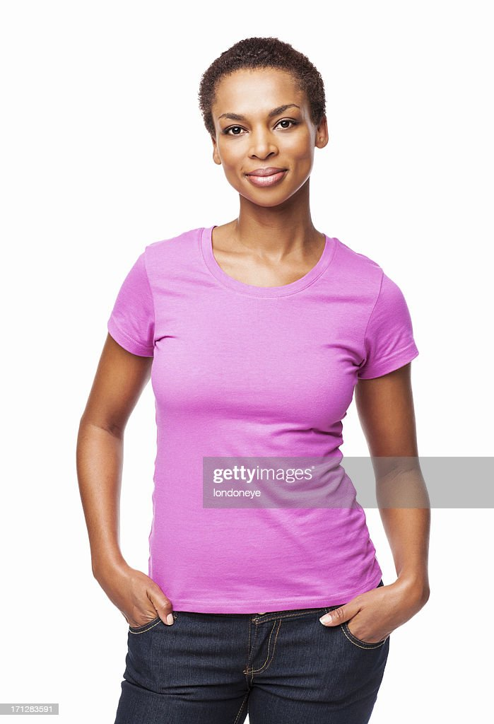 African American Woman Smiling With Hands In Pockets - Isolated : Stock Photo