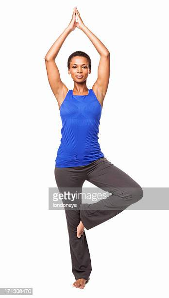 African American Woman Standing In a Yoga Position - Isolated