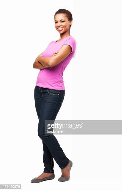 african american woman standing with arms crossed - isolated - black trousers stock pictures, royalty-free photos & images