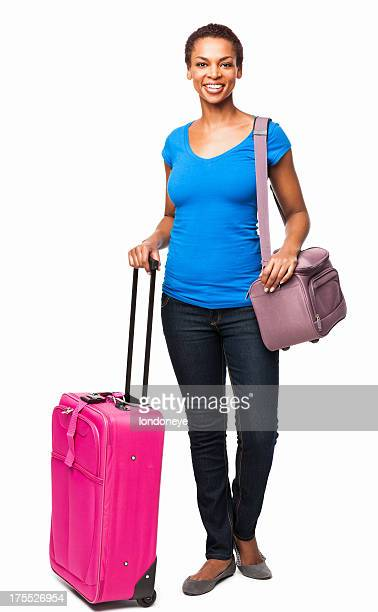 African American Woman Standing With Travel Bags - Isolated
