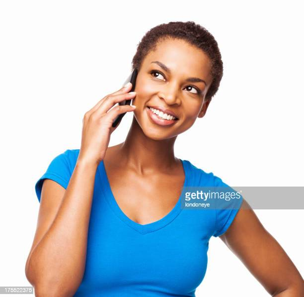 African American Woman Talking On Cell Phone - Isolated