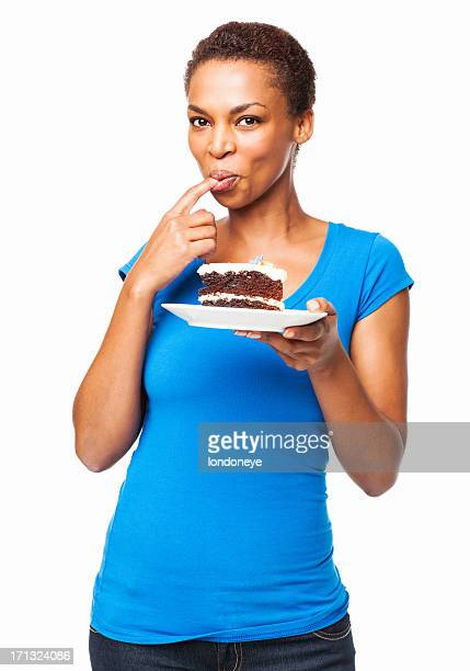 African American Woman Tasting Chocolate Cake- Isolated
