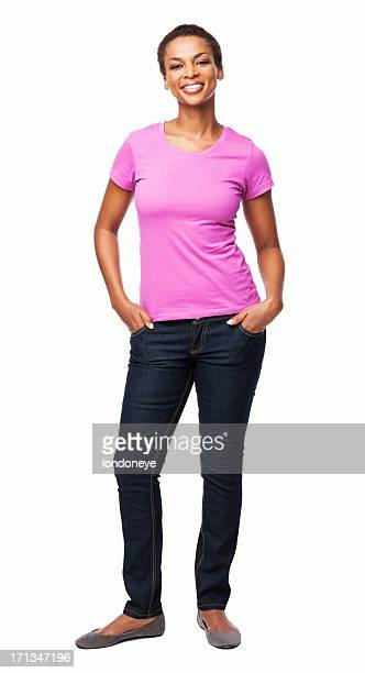 african american woman with hands in pockets - isolated - black trousers stock pictures, royalty-free photos & images