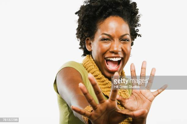 African American woman with hands out in front
