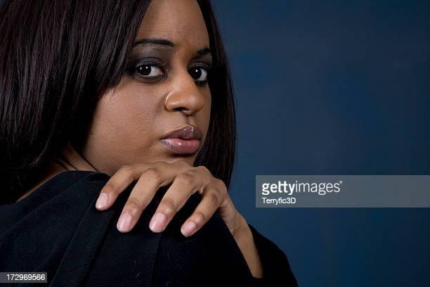 african american woman with worry and sad face - terryfic3d bildbanksfoton och bilder