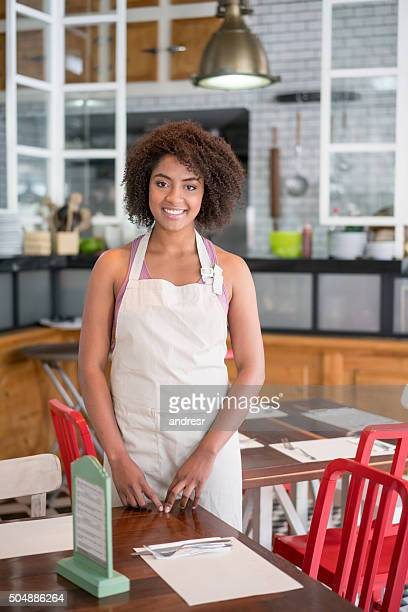 African American woman working at a restaurant