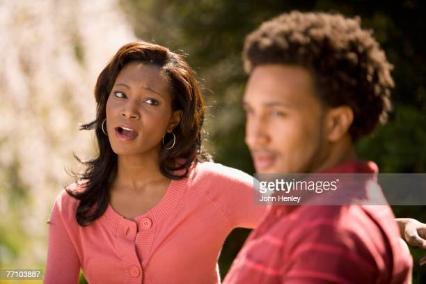African American woman yelling at boyfriend