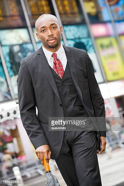 African American Young Business Man in Suit Outside, Copy Space