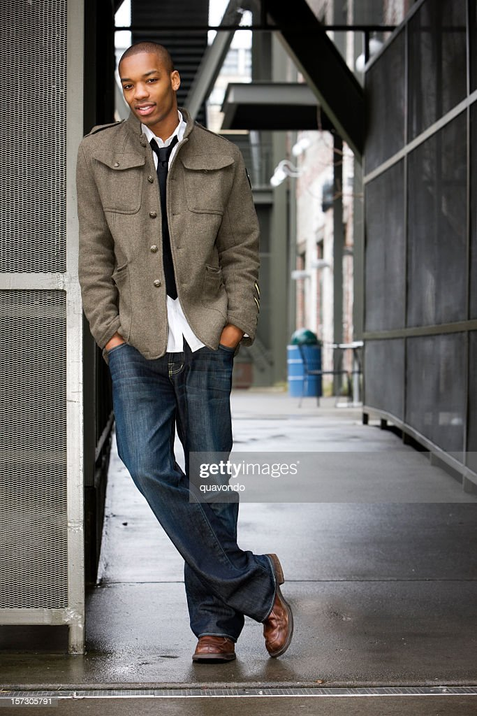 African American Young Male Fashion Model in Urban Setting, Copyspace : Stock Photo