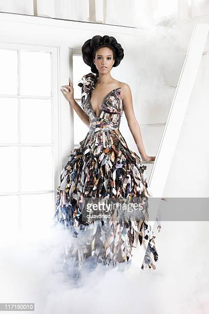 african american young woman fashion model in paper gown - evening gown stock photos and pictures