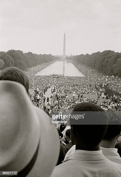 African Americans and whites surrounding the Reflecting Pool and continuing to the Washington Monument