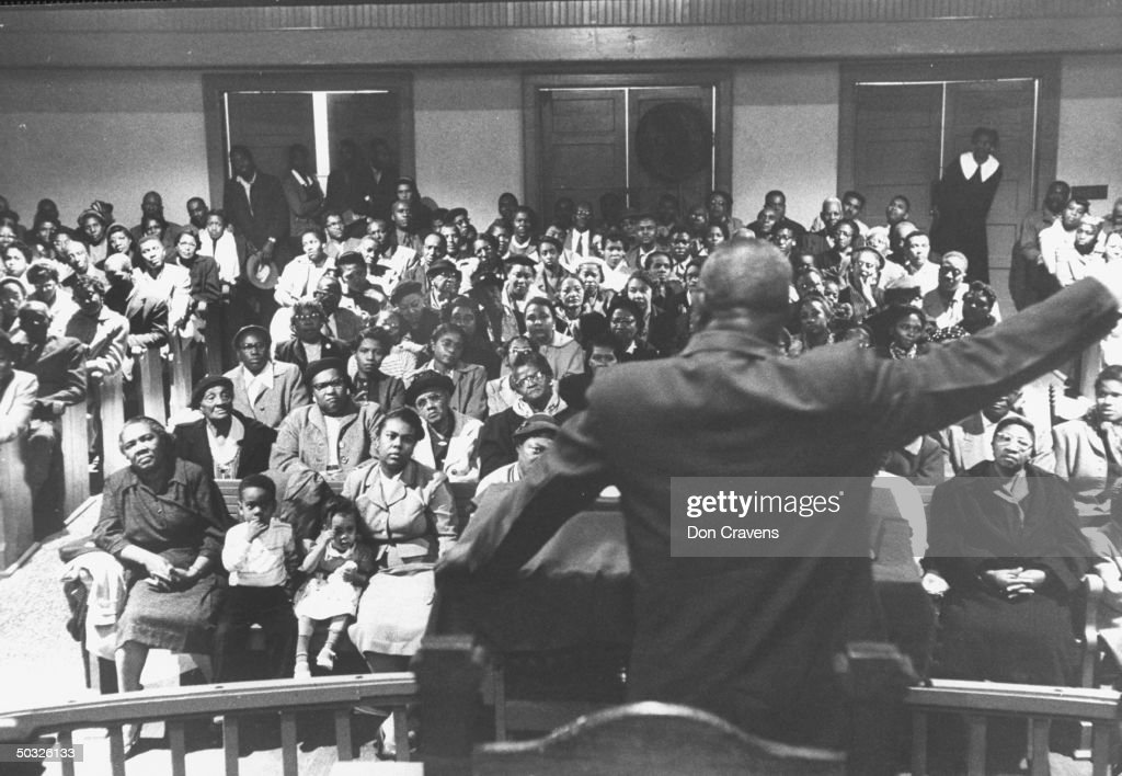 African Americans, at church rally for b : News Photo