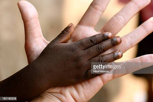 african and american hands - adoptie stockfoto's en -beelden