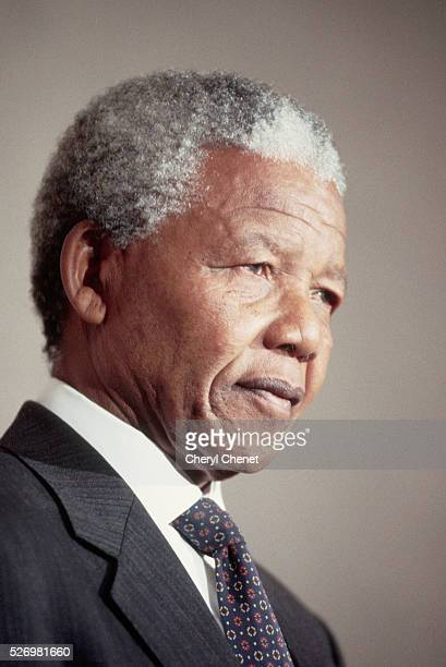 African and world political leader and civil rights activist Nelson Mandela gives a press conference in Washington DC