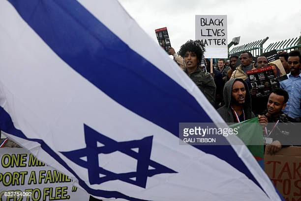 African asylum seekers mostly from Eritrea take part in a protest against Israel's deportation policy in front of the Knesset in Jerusalem on January...
