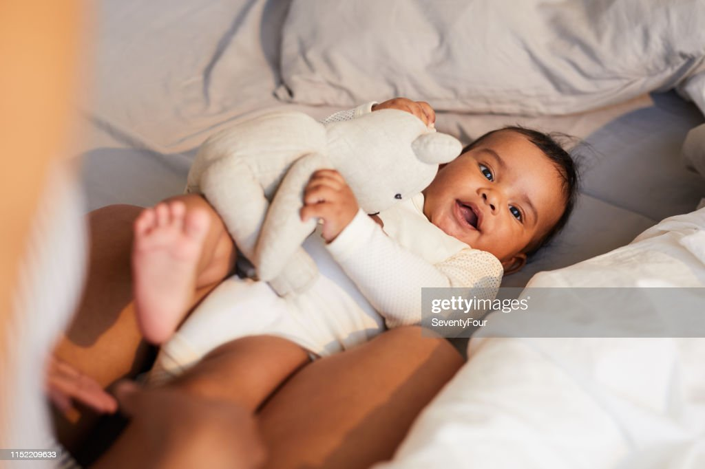African baby boy with toy : Stock Photo