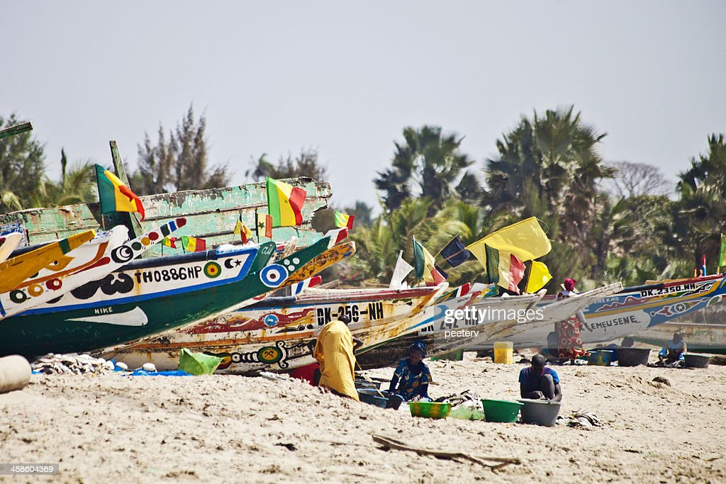African beach scene with fishing boats. : Stock Photo