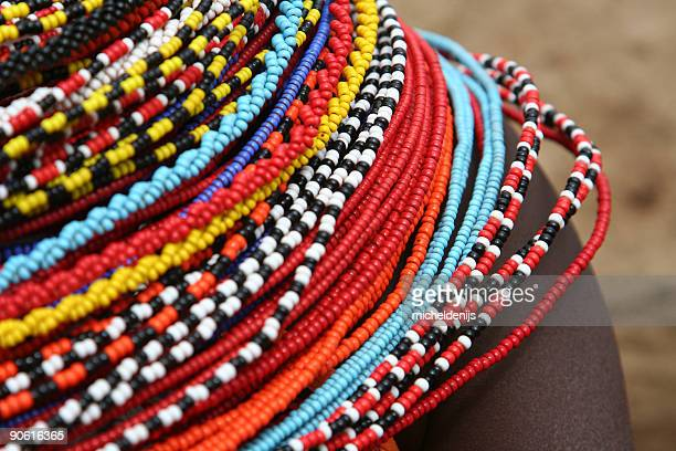african beaded necklace - african culture stock pictures, royalty-free photos & images
