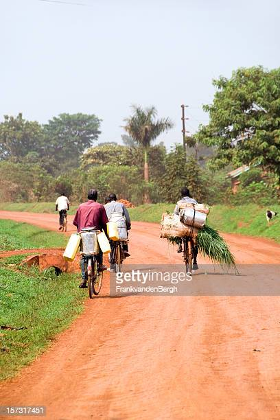 african bicycles - uganda stock pictures, royalty-free photos & images