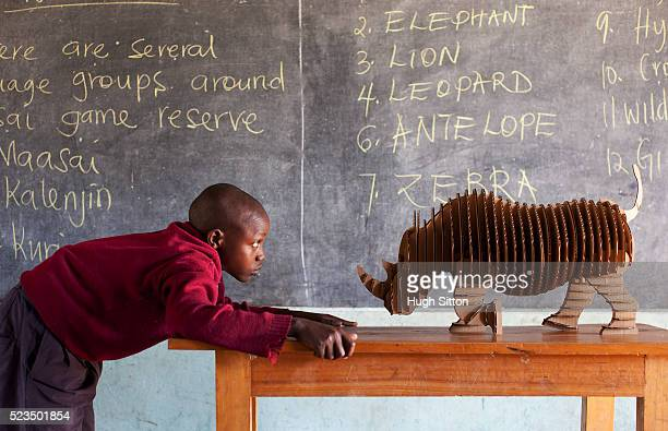 african boy and rhinoceros model at classroom - hugh sitton stock pictures, royalty-free photos & images