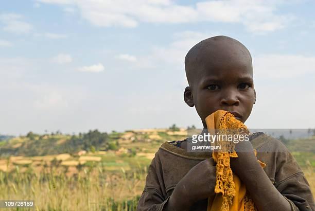 African boy in the fields