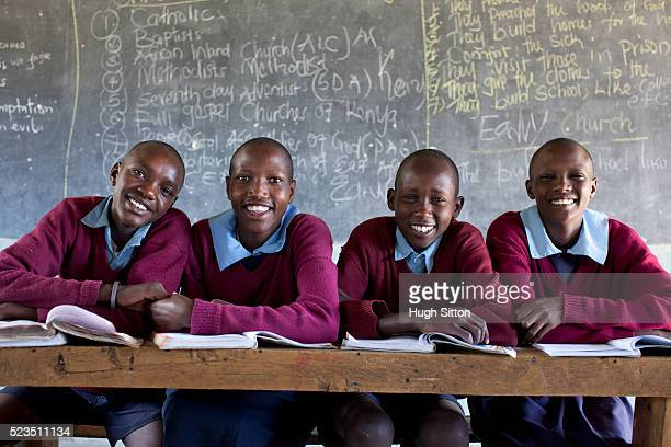 african boys and girls at classroom - kenya stock pictures, royalty-free photos & images
