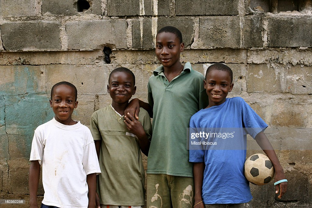 African Boys with Soccer Ball : Stock Photo