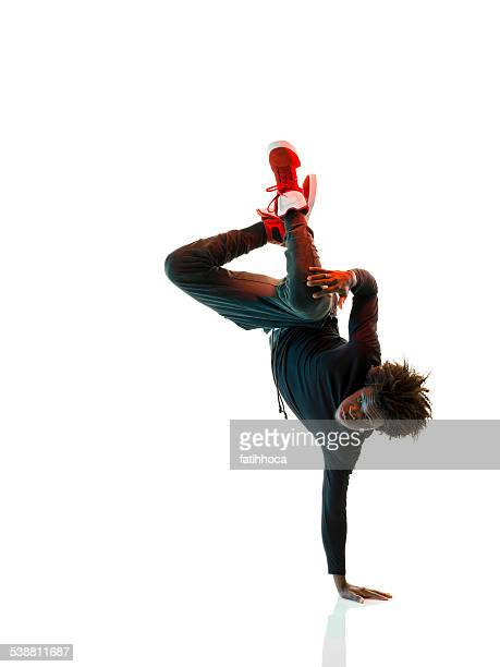 african breakdancer - white background stockfoto's en -beelden