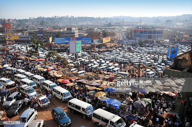 African bus station - share taxi mass, Kampala, Uganda