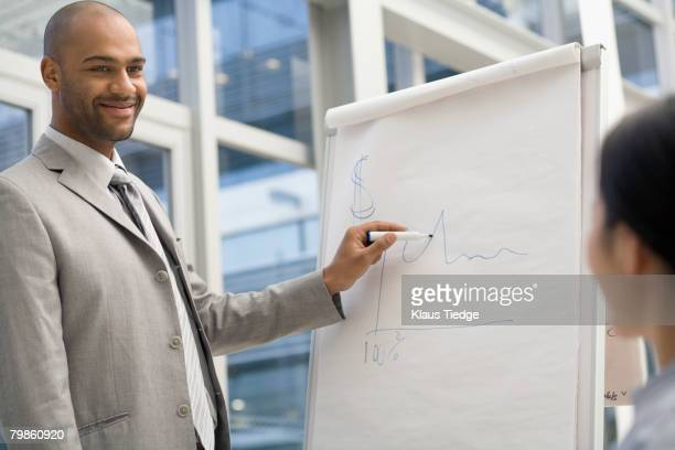 African businessman giving presentation